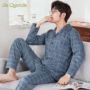 Image 3 - J & Q Neue Pyjama Set Männer Revers Marke Qualität Schlaf Top & Bottoms Freizeit Haus Tragen Plaid Pyjamas Plus größe Männlichen Strickjacke Nachtwäsche