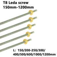 T8 Blei Schraube Stange OD 8mm Pitch 2mm Blei 2mm 150 200 300 350 400 500 600 1000 1200 mm mit Messing Mutter Für CNC 3D Drucker