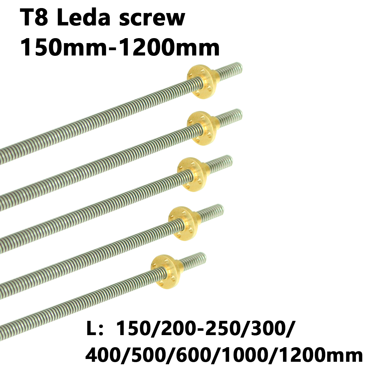 T8 Lead Screw Rod OD 8mm Pitch 2mm Lead 2mm 150 200 300 350 400 500 600 1000 1200 Mm With Brass Nut For CNC 3D Printer