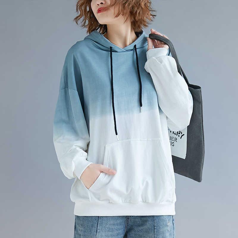 2019 nueva primavera otoño mujer moda pulóver bolsillo manga larga gradiente sudaderas sudadera 230 libras grasa MM puede usar cc1044