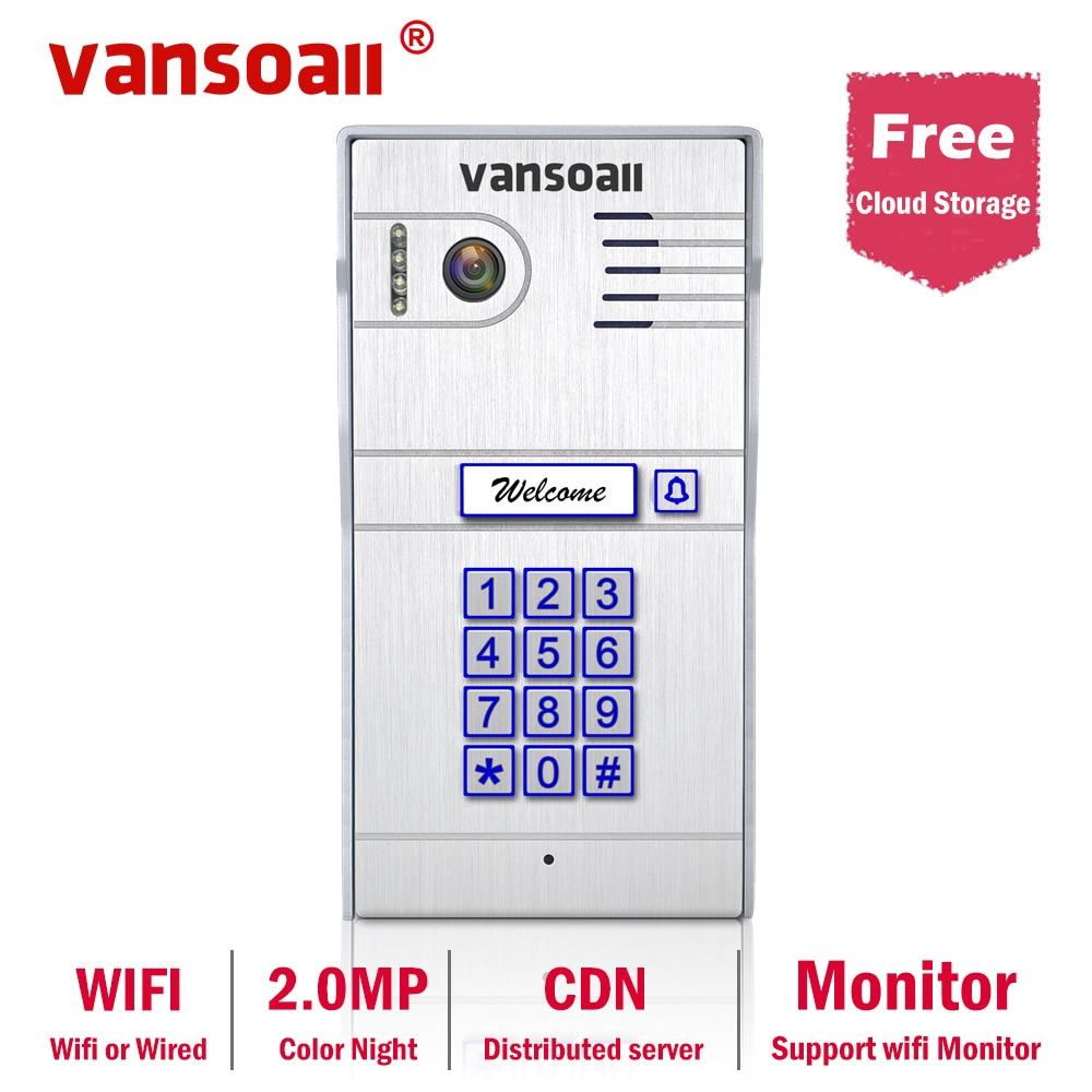 VANSOALL WIFI Video Doorbell Intercom Outdoor Camera Night Vision Weatherproof Support Wireless Monitor and Unlocking for Home