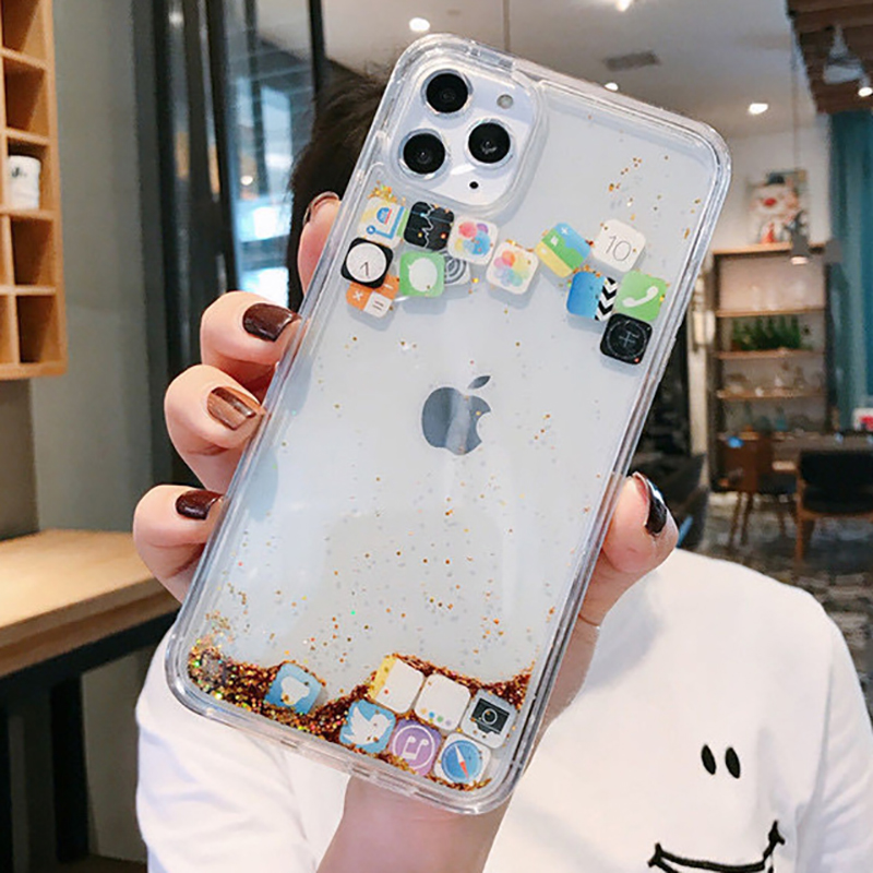 Dynamic Quicksand Cover For iPhone 11 Pro MAX Liquid Hard Phone Shell For iPhone 6 7 8 Plus X XR XS MAX Cute apps icon Case Capa image