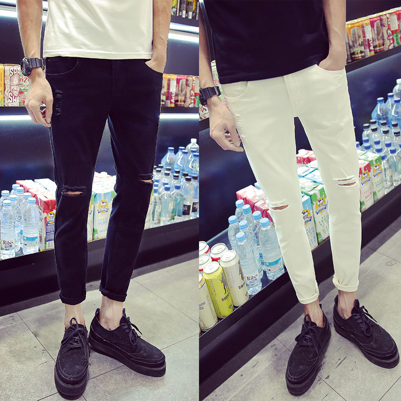 2017 Summer MEN'S Jeans Korean-style Cool With Holes Capri Pants Teenager Students Pants Fashion