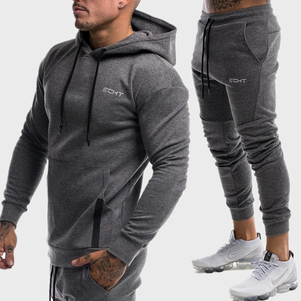 Men/'s Tracksuit Set Hoodie Sweatsuit Slim Fit Top Pants Joggers Gym Casual Suit