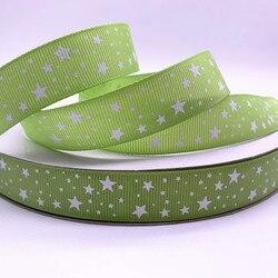 5yards 15mm 20mm 25mm 38mm ruban gros-grain vert Olive imprimé étoiles pour noël décoration de mariage bricolage couture artisanat