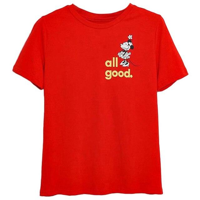 Disney Family T-Shirt Fashion Winnie the Pooh Mickey Mouse Stitch Fairy Dumbo SIMBA Cartoon Print Women T-Shirt Cotton Tee Tops 14