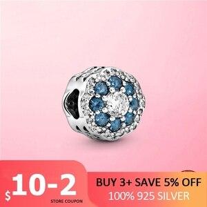2021 novo 925 prata esterlina azul claro cz flor charme floco de neve contas caber pan original pulseira diy prata 925 jóias presente