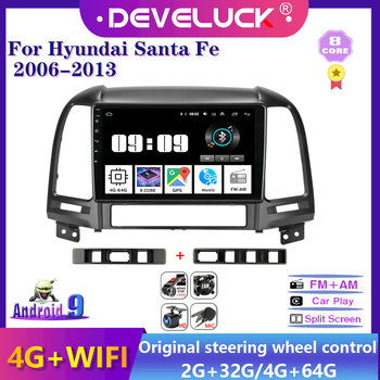 2Din Android Car Radio Multimedia Video Player Navigation GPS 4G+64G 2 din stereo For Hyundai Santa Fe 2006 2007 2008-2012 RDS image