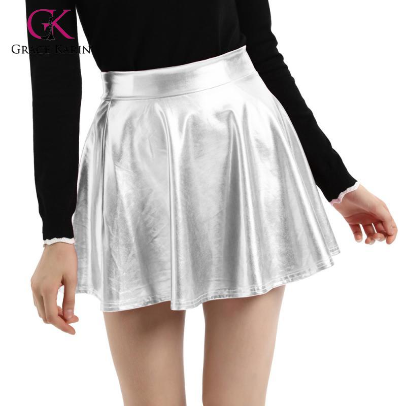Grace Karin Imitated Leather Shiny Metallic-Like Skater Skirt Women Sexy Short Mini Skirt 2020 Summer Pleated Flare A-Line Skirt