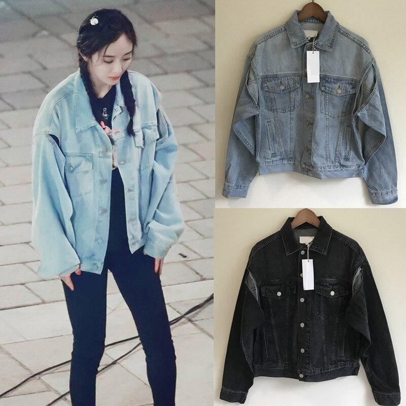 2020 Spring Autumn Women Open Cuff Denim Jacket Short Coat Female