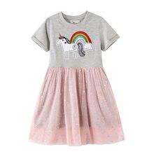 Vestido de unicórnio vestidos para crianças vestidos para meninas verão menina vestido robe fille vestido infantil menina crianças traje novo