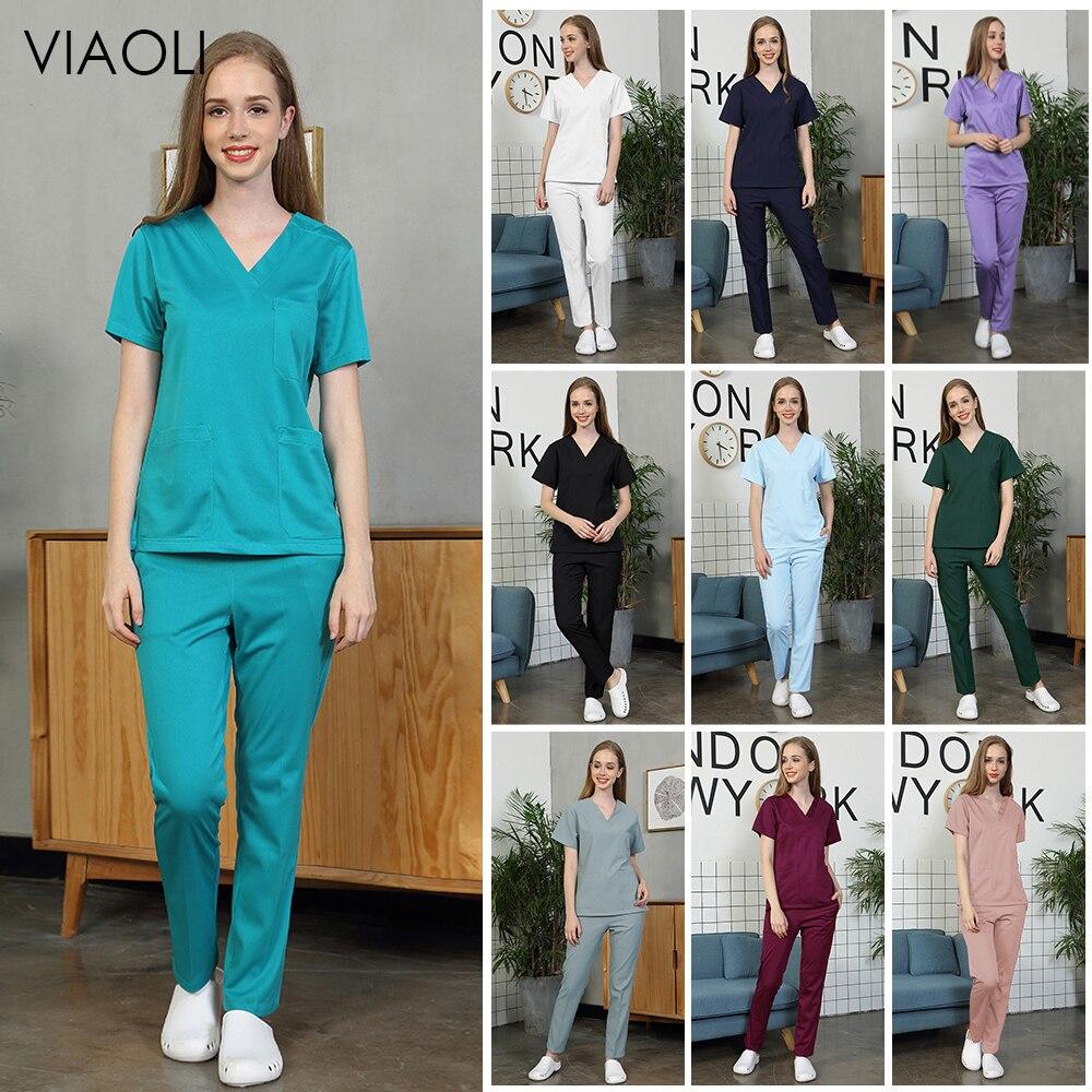 New Pet Hospital Nurse Uniform Set Surgery Uniform Dental Clinic Beauty Salon Pharmacy Workwear Nursing Uniform Scrubs Lab Coat