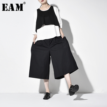 [EAM] Wide Leg Pants Three Piece Suit New Round Neck Long Sleeve Black Loose Fit Women Fashion Tide Spring Autumn 2020 JW1000