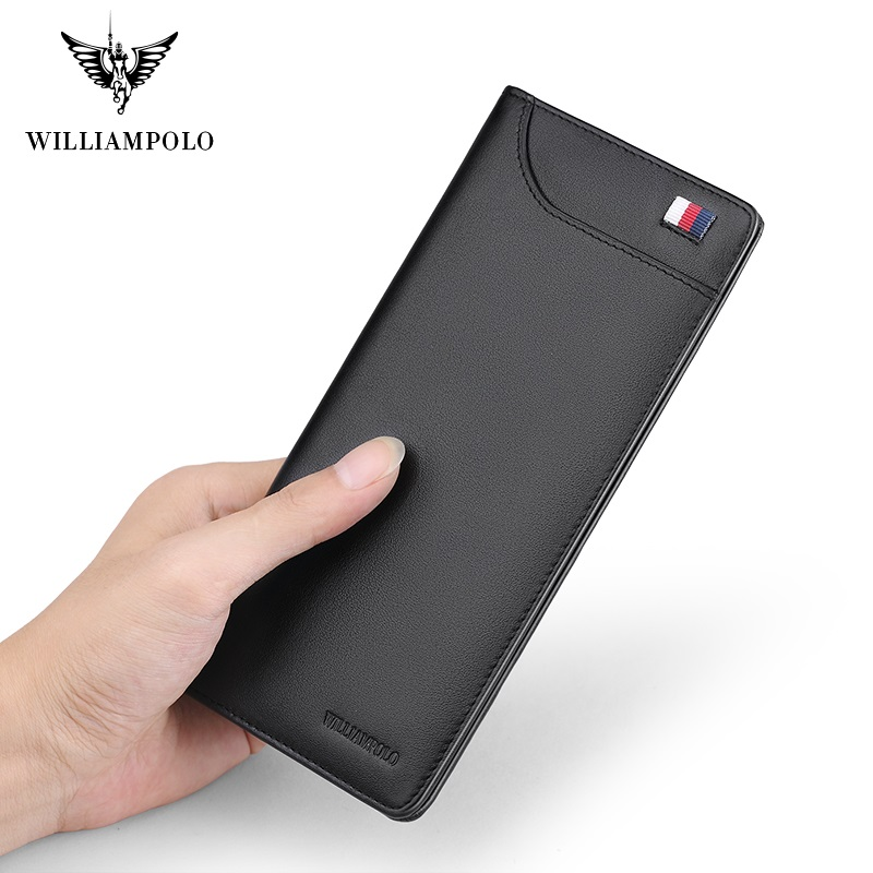 WILLIAMPOLO Long Wallet Men Ultra-thin Credit Card Holder Wallet Slim Thin Leather High Quality Male Purse Luxury Brand New