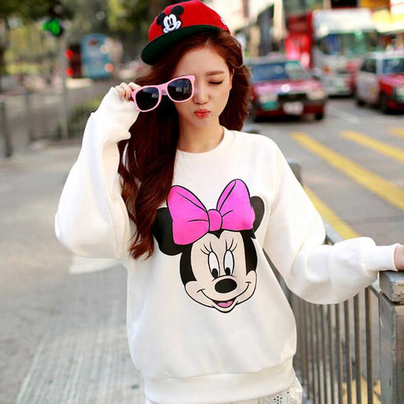 Disney Mickey Print Vrouwen Hoodie Dunne Fashion Lange Mouwen O Neck Cotton Dames Sweater Casual Losse Womens Hoodies Pullover