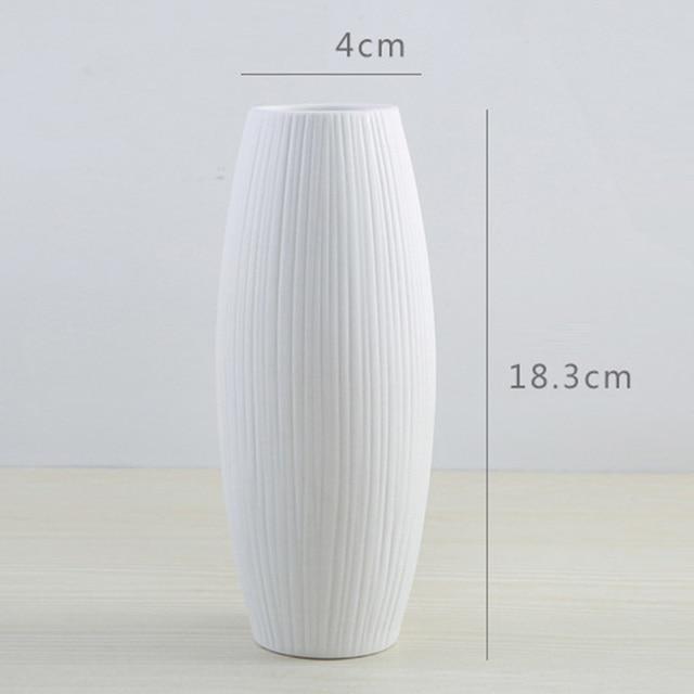 New European Simple White Ceramic Vase Nordic Home Flower Inserter Modern Simple Vases Creative House Living Room Decorations 5