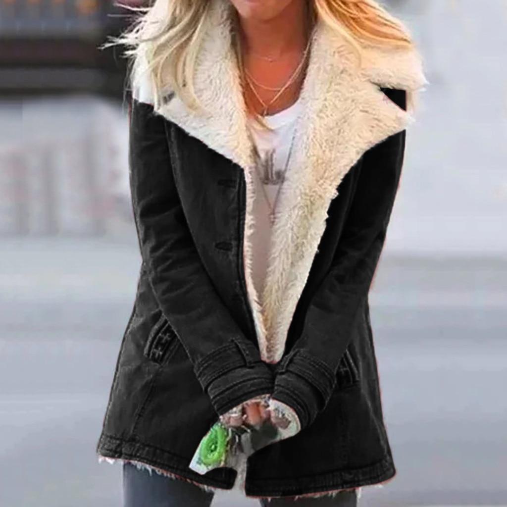 Winter Women Jacket Solid Zipper Loose Large Lapel Warm Cotton Women Coat Female Jackets Women Parka Winter Jacket