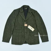 BOB DONG Giacca di Tweed Blazer Vintage Paese di Lana A Strisce Cappotto di Sport Per Gli Uomini