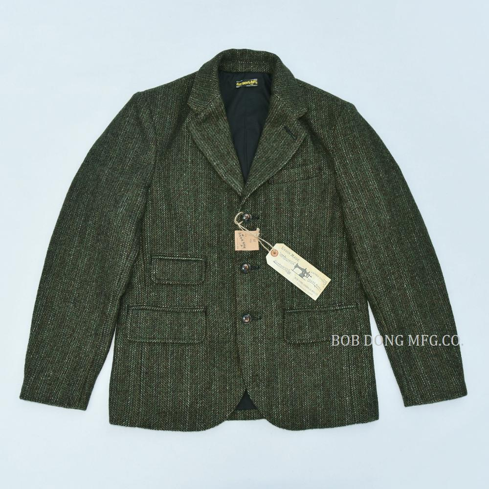 BOB DONG Tweed Jacket Blazer Vintage Country Striped Wool Sport Coat For Men