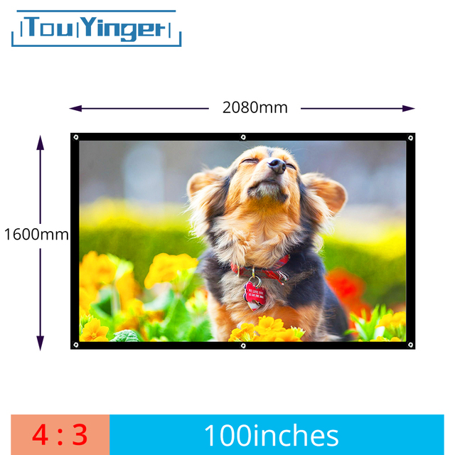 مبيعات المصنع 100 بوصة 4:3 العارض HD الشاشة المحمولة مطوية الجبهة قماش شاشة عرض مع الثقوب مع الإطار