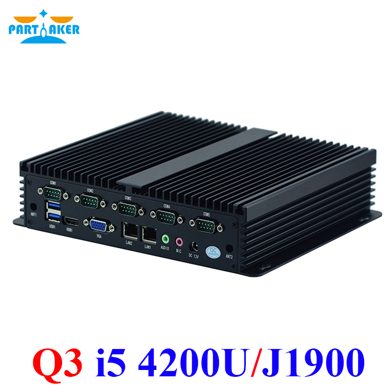 Partaker Q3 Intel Core I5 4200U Mini ITX X86 Industrial Pc With 6 Rs232 Dual Lan Intel Celeron J1900 Fanless Linux Embedded PC