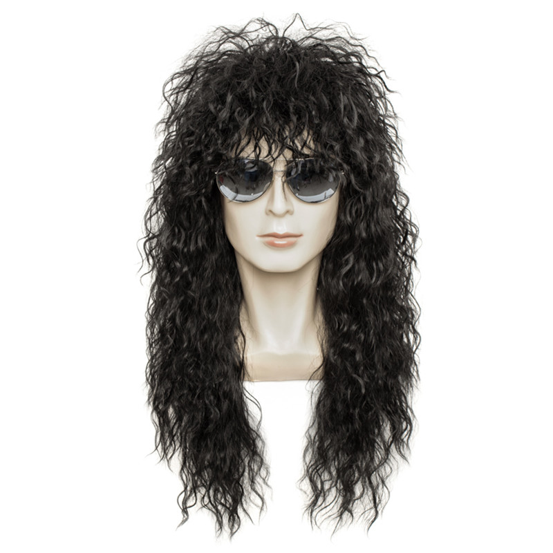 Gres Wig Black Long Curly Wig Male Synthetic Cosplay Wigs Puffy High Temperature Fiber For Men