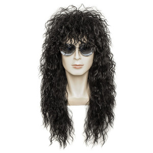 Image 1 - Gres Wig Black Long Curly Wig Male Synthetic Cosplay Wigs Puffy High Temperature Fiber for Men