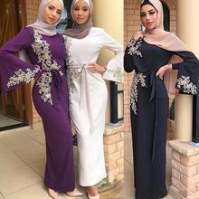 Eid Mubarak Abaya dubaj turcja muzułmański hidżab sukienka Kaftan Kaftan Marocain sukienki Islam dla damska suknia Musulman Vestidos tanie tanio AIFEIYIYI Dla dorosłych Poliester Moda LR275 Suknem Haft not included the hijab scarf abayas