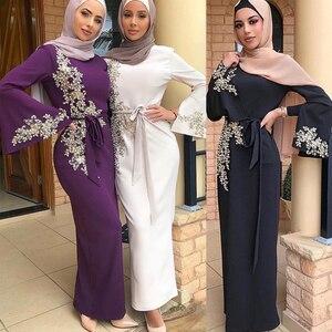 Image 1 - ドバイトルコイスラム教徒ヒジャーブドレスカフタンアメリカイスラム服アバヤabayasドレス女子ローブmusulmanファムvestidos