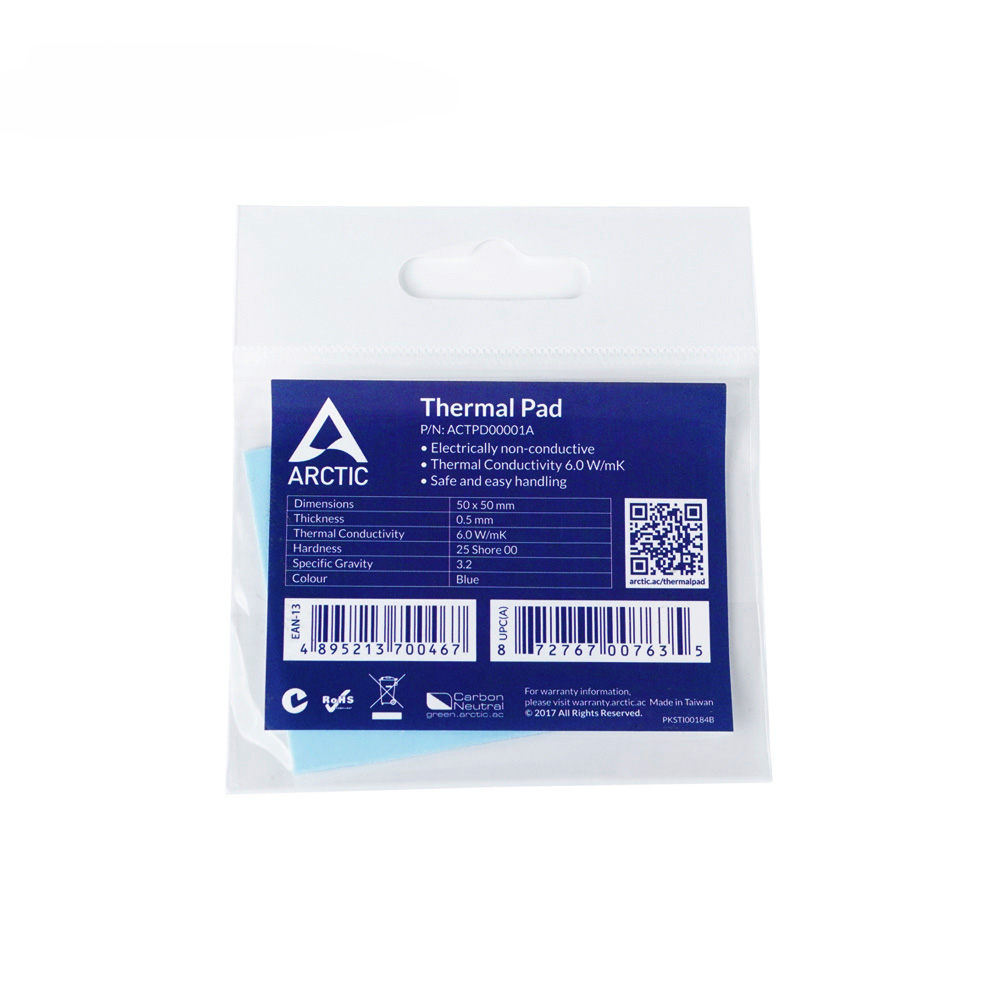 ARCTIC Thermal Pad 6.0 W/mK Conductivity 0.5mm 1.0mm 1.5mm Thickness High Efficient Thermal Mat 50x50mm 2