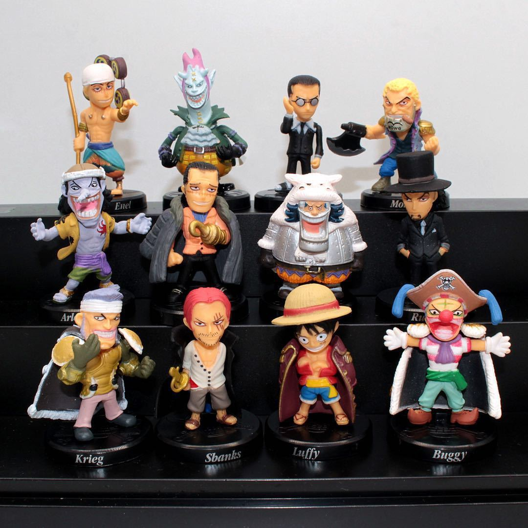 [Funny] 12pcs/lot Anime Q version <font><b>One</b></font> <font><b>piece</b></font> <font><b>Luffy</b></font> Krieg Sbanks Buggy Enel PVC Figures dolls Collectible model Toy kids gift image