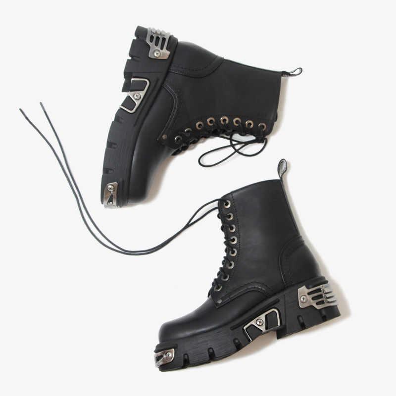 Punk Stil Plattform Frauen Stiefeletten frauen Motorrad Boot Mode Damen Chunky Schuhe Metall Dekor Schwarz GROßE größe 41 43 44