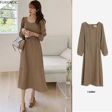 Chique coreano moda feminina temperamento senhora do escritório elegante trabalho básico usar sólido vintage longo vestido fenimine vestidos n502