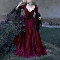 Vintage Women Dress Retro Renaissance Gothic Literary Sexy Court Dress Ball Gown Low Cut Long Sleeve Party Long Dresses Vestidos