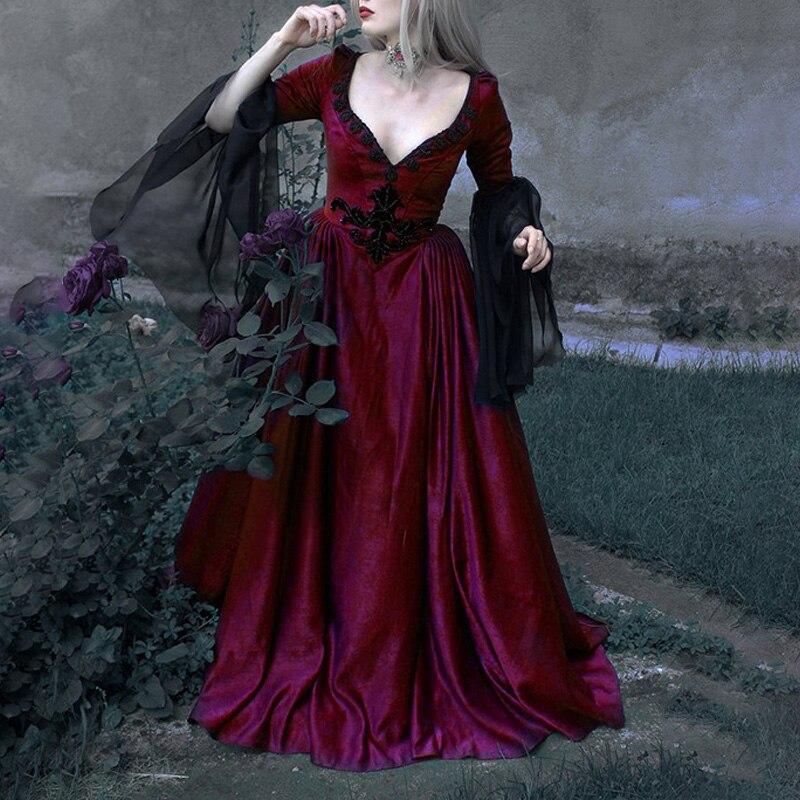 Vintage femmes robe rétro Renaissance gothique littéraire Sexy Court robe robe de bal coupe basse à manches longues fête longues robes Vestidos