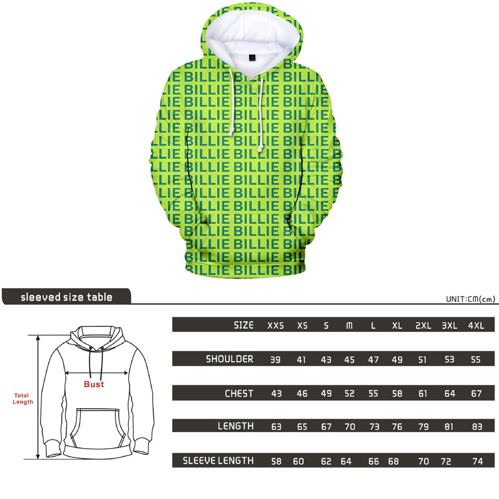 Image 5 - Kpop Clothes Billie Eilish Green Hoodie Sweatshirt Pants Tees Woman Streetwear Bad Guy 3D Print New Letter Coat Tops Tshirt Suit-in Women's Sets from Women's Clothing