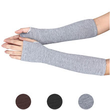 101 Pair Soft Stretchy Wrist Arm Hand Warmer Knitted Mittens Women Winter Long Fingerless Gloves Black Grey Coffee free shipping(China)