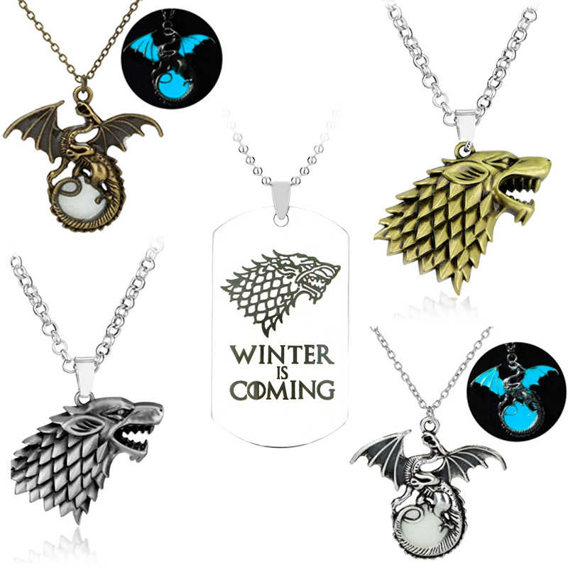 Game Of Throne Necklace House Stark Wolf Logo Metal Round Pendant Winter Is Coming Dog Tag Necklaces Jewelry Game Of Thrones Necklace Game Of Thronesgame Of Aliexpress