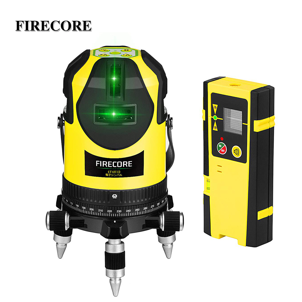 FIRECORE 8 Linien Green Laser Level Elektronische Selbst Nivellierung 360 Super Leistungsstarke Laser Kreuz Linien mit Empfänger