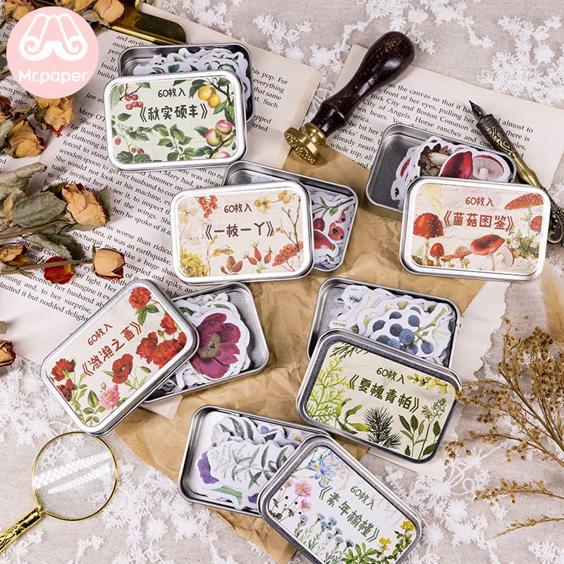 Mr.paper 60Pcs/box Iron Box Natural Forest Green Plant Flower Mushroom Sticker Scrapbooking Planner Bullet Journal Deco Stickers