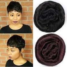 Korte Steil Haar Weave Bundels Goedkope Groothandel 90% Remy Menselijk Haar 10% Synthetisch Haar Extensions Natuurlijke Zwarte Bruine Kleur