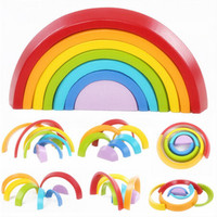 7Pcs/Set Colorful Wooden Blocks Toys Creative Rainbow Assembling Blocks Infant Children Educational Baby Unisex Learning Toys