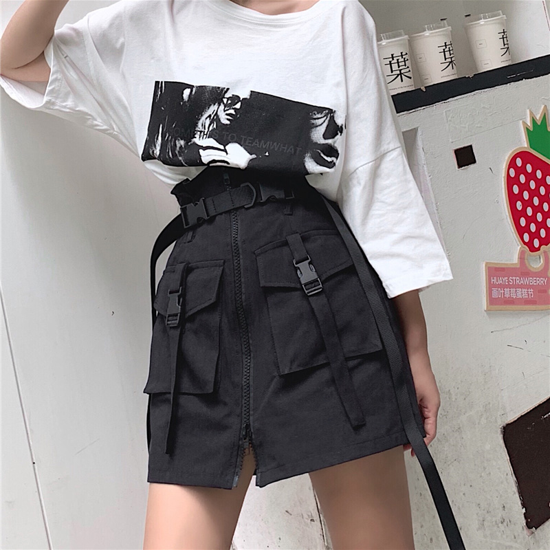 Women's Summer Harajuku Skirt With Belt Pocket Zipper Decorative Black Tooling Skirts Female Fashion Khaki High Waist Mini Skirt