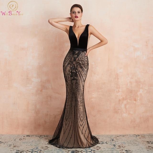 Robe de soirée longue noire avec traîne, robe de bal, style sirène, avec décolleté en dentelle, paillettes, robe de bal, style dubaï, 2020