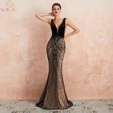 Vestidos de Noche negros de Dubái Abendkleider Lang 2020, Vestido largo de encaje de sirena encantadora con lentejuelas, cola barrida para baile Formal elegante