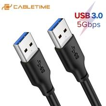 Cabletime usb para usb um 3.0 tipo macho um cabo de extensão usb cabo para o disco rígido do radiador usb3.0 cabo de transferência de dados c266