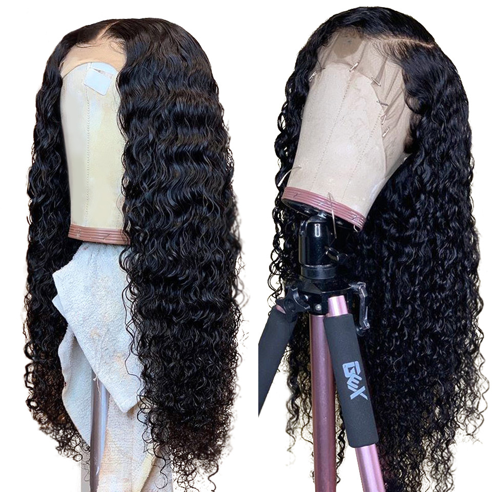 4X4 Lace Closure Wig Brazilian Deep Wave Wigs Remy Human Hair Wigs 150/180 Density Pre Plucked Human Hair WIgs for Black Women