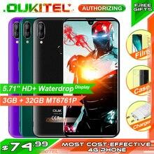 هاتف ذكي OUKITEL C16 PRO بشاشة 5.71 بوصة عالية الدقة + قطرة الماء يدعم 4G معالج رباعي النواة MT6761P 3GB 32GB Android9.0 هاتف محمول مزود بخاصية التعرف على الوجه والوجه 2600mAh