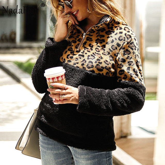 Nadafair Fluffy Oversized Hoodie Leopard Patchwork Zip Fleece Casual Plus Size Sweatshirt Women Pullover Overcoat Hoody Ladies 2