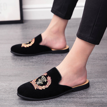 Men's Fashion Leather Embroidery Loafers Mens Casual Printed Moccasins Shoes Man Party Driving Flats Zapatos Mules Slippers